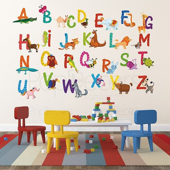 Nursery Abc Alphabet Wall Stickers Children Playroom Decals 26 Sticker Animal Alphabets A Z Kids Letters