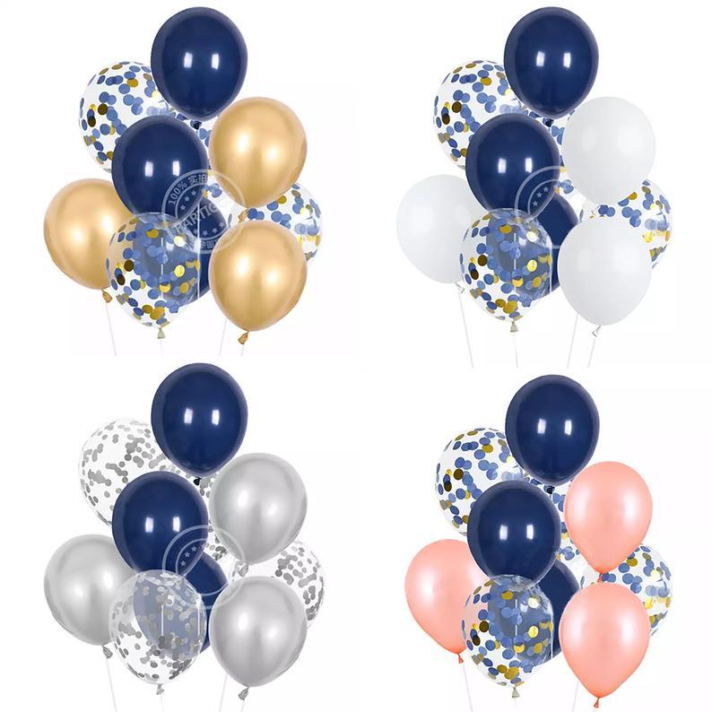 Navy Blue Rose Gold Balloons Dark Blue Gold Balloons Navy Etsy Rose Gold Balloons Gold Balloons Silver Balloon