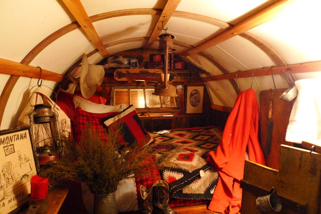 Inside view of a covered wagon cool. My mom's family were ...
