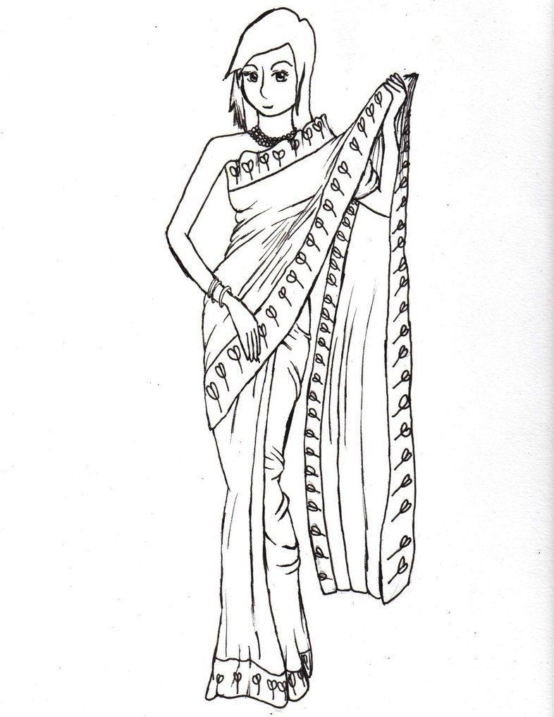 Saree/Indian Girl Coloring Page | Сари Раскраски/Saree Coloring ...