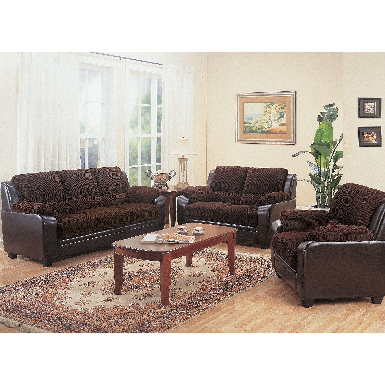 Best Ruston Chocolate 3 Piece Corduroy Living Room Set Black 400 x 300
