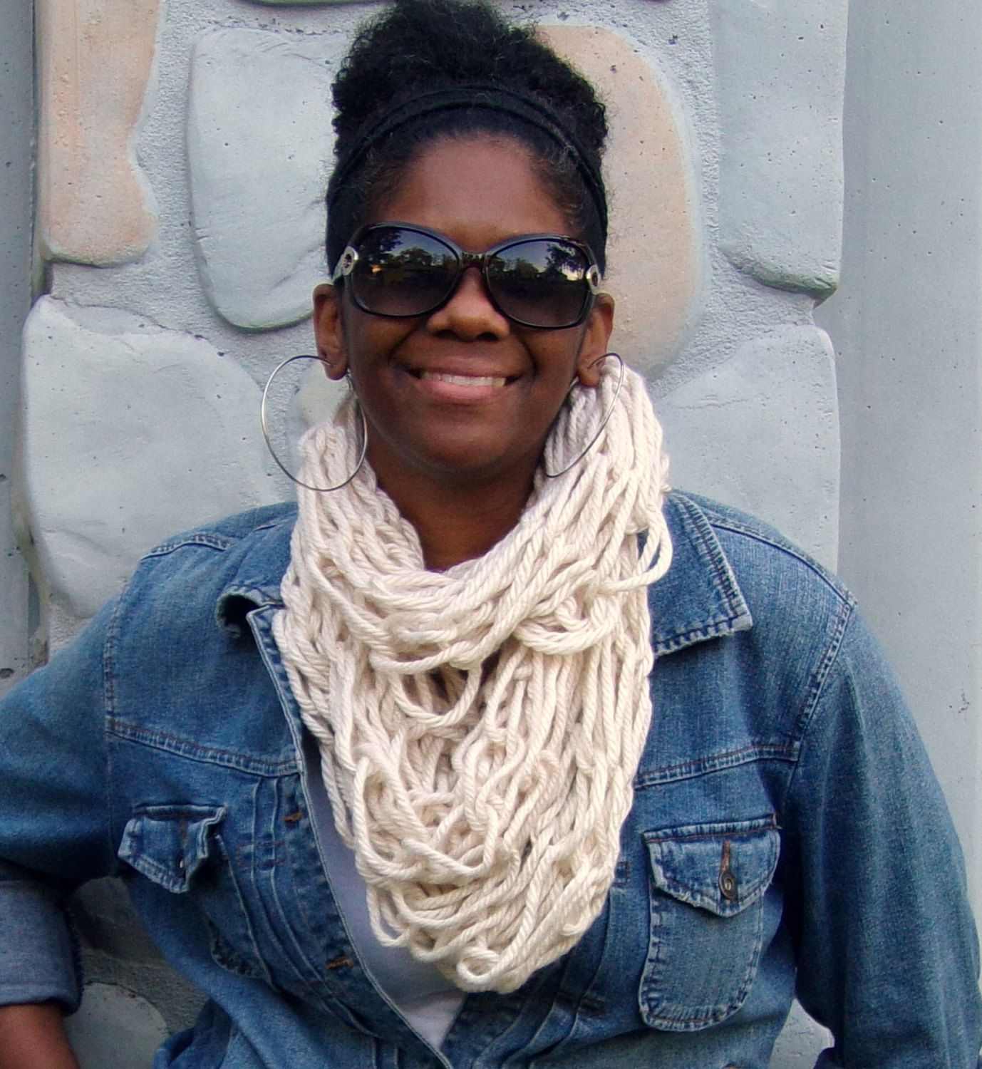 Off White Arm Knit Scarf, Infinity Scarf, Knit Cowl by glaccessories on Etsy