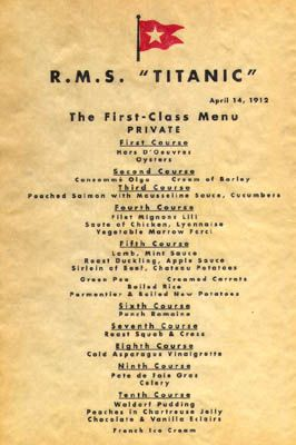 First Class Dinner Menu Titanic Pinterest Titanic
