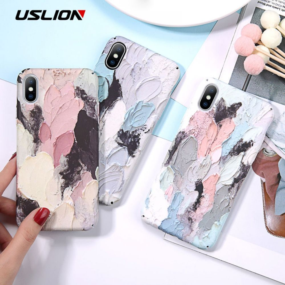 USLION Luminous Phone Case For iPhone 7 XR XS Max 3D Dye Graffiti Cases For iPhone 6 6s 7 8 Plus X Hard Cover PC Fundas Coque  – Case Movil