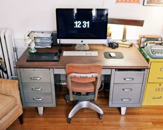 reuse an old metal desk and filing cabinet for a retro Mad Men feel