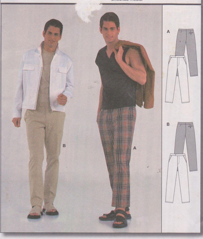 1990\'s Men\'s Sewing Pattern Burda 8820 Straight Leg Pants with Side ...