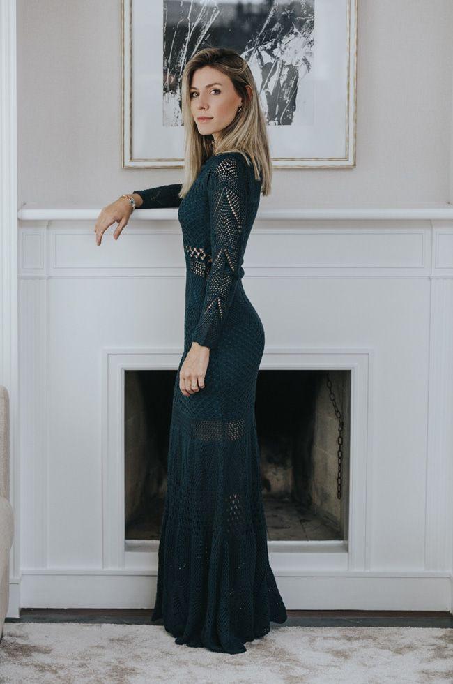99b864946f Nati Vozza do Blog de Moda Glam4You usa vestido de festa de tricot clássico  e super elegante.