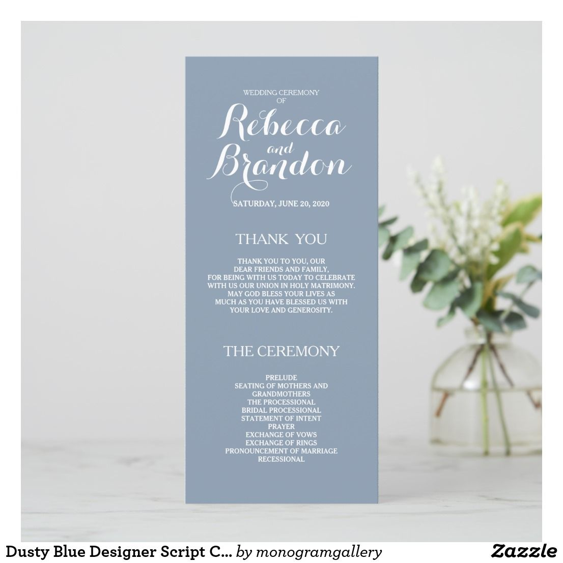 dusty blue designer script custom wedding program in 2018 wedding