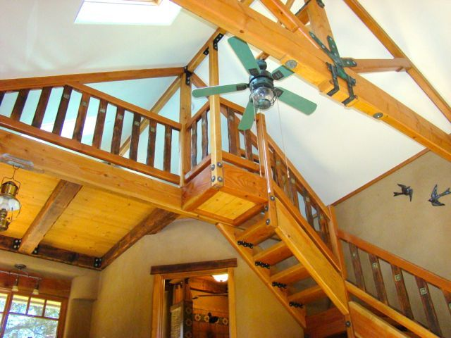 Lighting Basement Washroom Stairs: Heavy Timber Stairs Lead To A Loft & Sleeping Space