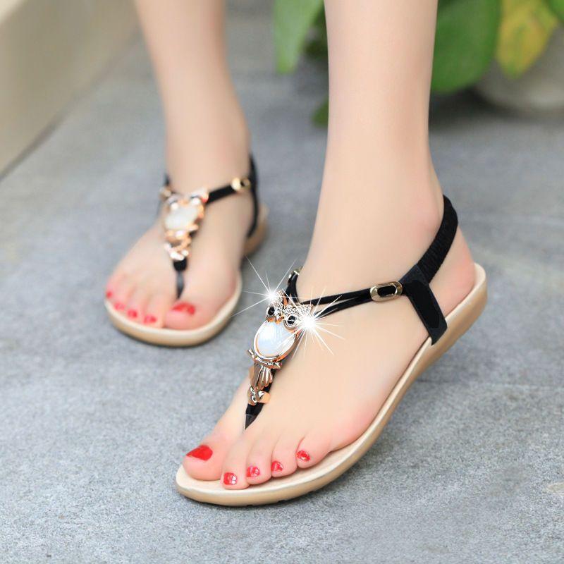 b2df96c36cc1b4 Bohemia Womens Summer Bohemia Slippers Flip Flops Flat Sandals Beach Thong  Shoes