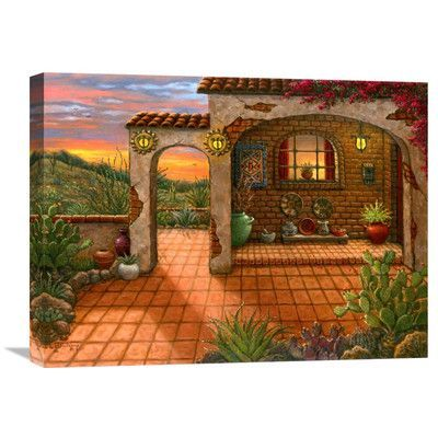 """Global Gallery 'South West Sunset' by Janet Kruskamp Painting Print on Wrapped Canvas Size: 18"""" H x 24"""" W x 1.5"""" D"""