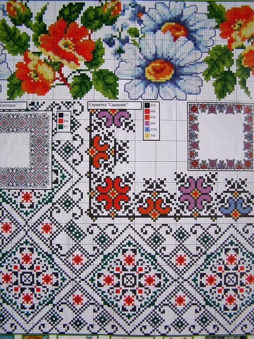 Cross Stitch Ukrainian Embroidery Flower Patterns