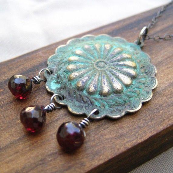 Garnet Necklace Fall Fashion Crimson Red Sterling by loriyab