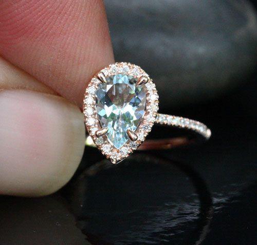 Rose Gold Aquamarine Engagement Ring Diamond Ring 14k Gold with Aquamarine Pear 9x6mm and Diamonds Halo #aquamarineengagementring