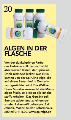 Schweizer Illustrierte #Gruen #Spiralps #Spirulina Swiss Spirulina Drink - www.spiralps.ch March 2014 - #Switzerland