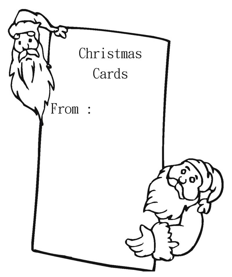 4 Merry Christmas Card Coloring Pages: Blank Christmas Card With Santa Coloring Page
