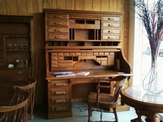 Solid Oak Roll Top Desk Hutch National Mt Airy