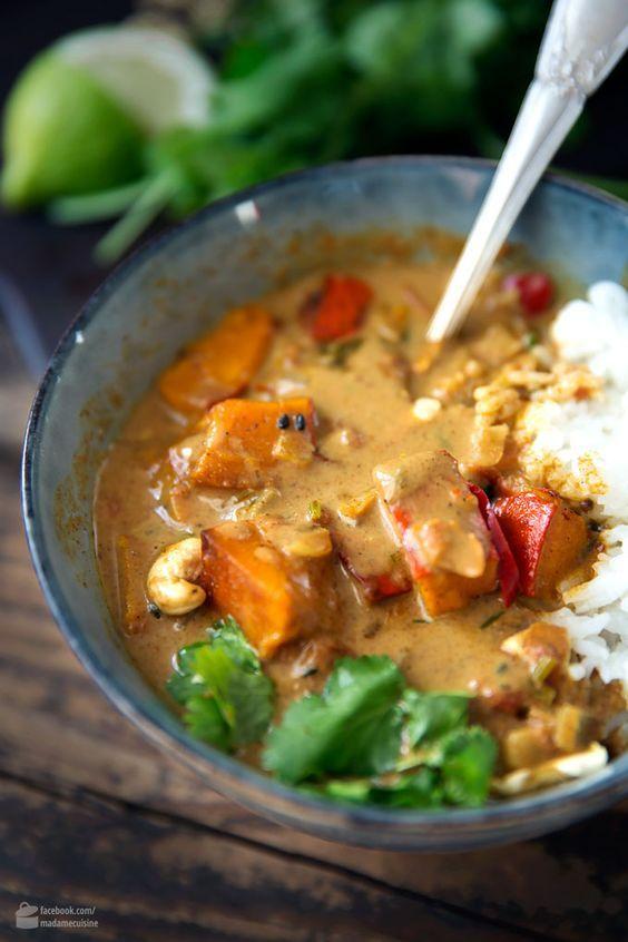 Kürbis-Curry mit Kokosmilch - Madame Cuisine #gezondeten