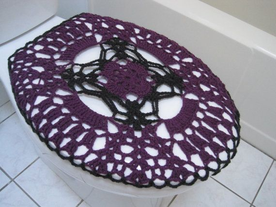 dark grey toilet seat. Crochet toilet seat cover  dark orchid grey