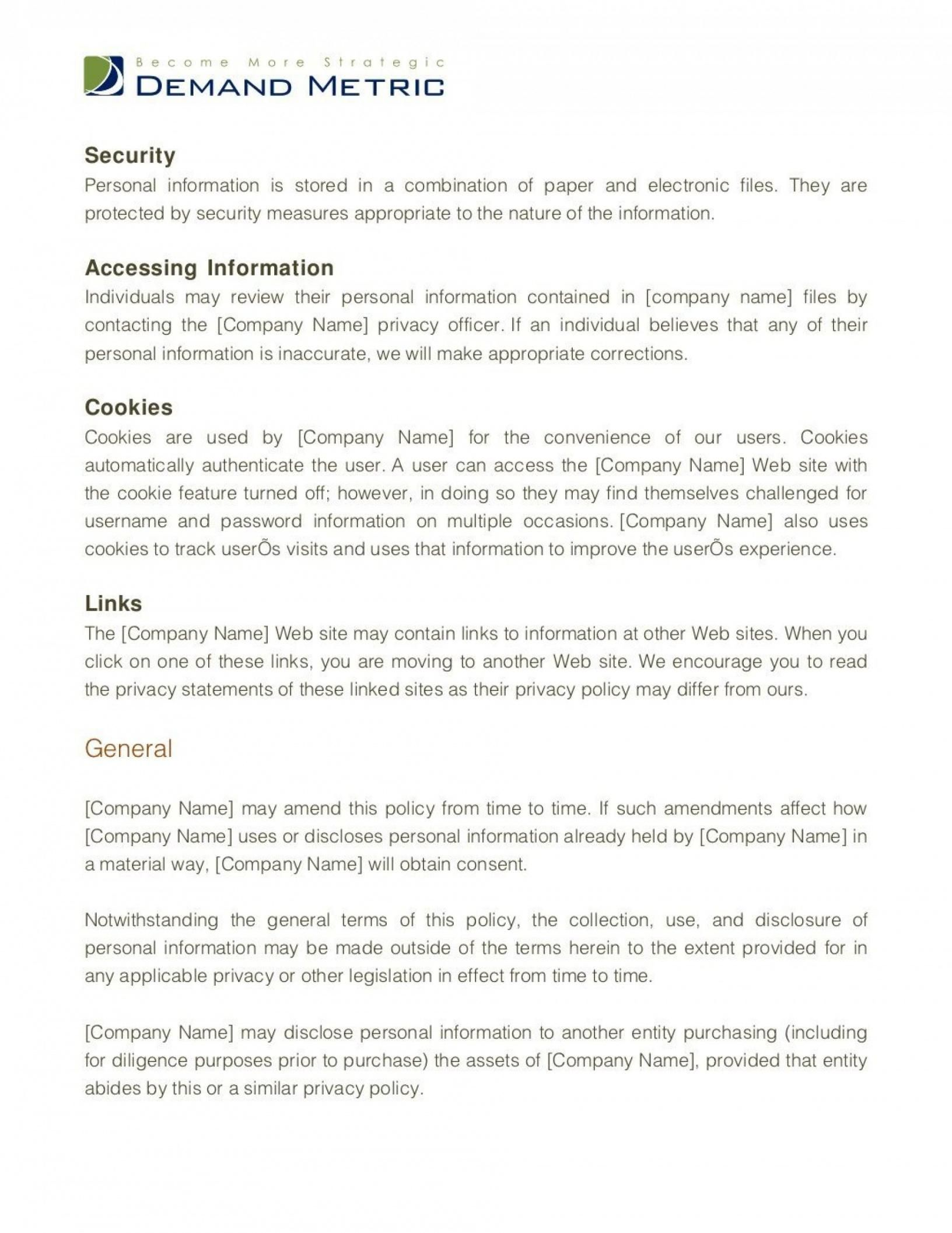Browse Our Sample Of Company Privacy Policy Template For Free Policy Template Good Essay Resume Template Free Shipping and returns policy template