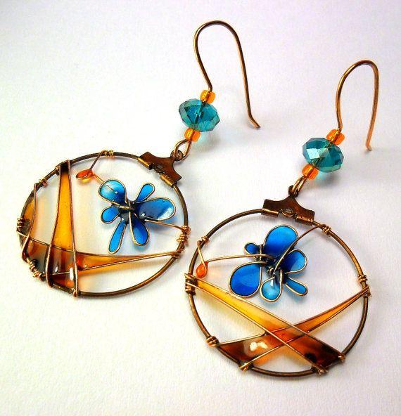 Fall copper resin earrings blue butterfly by ThePurpleBalloon, $34.00