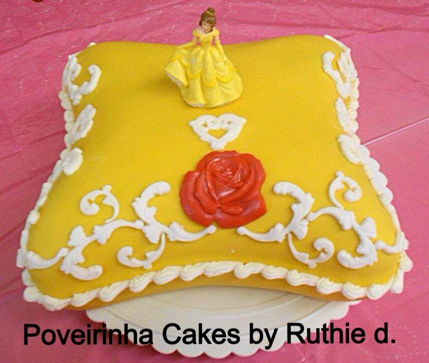 Disney Princess Belle pillow birthday cake Poveirinha Cakes by