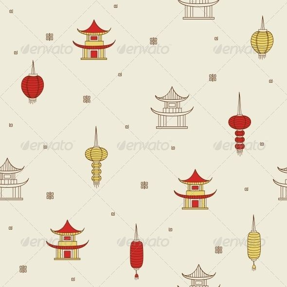 Chinese Seamless Background  #GraphicRiver         Chinese seamless background. Vector illustration. EPS 8.     Created: 6May13 GraphicsFilesIncluded: JPGImage #VectorEPS Layered: No MinimumAdobeCSVersion: CS Tags: beige #brown #building #chinese #circuit #cottage #decorative #design #east #eastern #flying #house #lantern #pagoda #pattern #red #repetition #roof #seamless #temple #tile #tradition #wallpaper #white #yellow