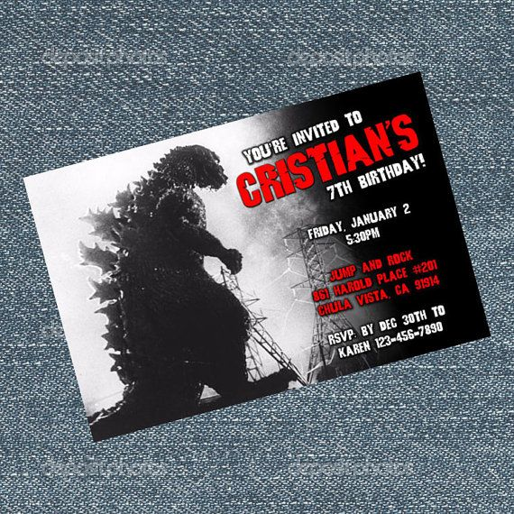 Godzilla Invitations Birthday Party Invites By Rrcreations123