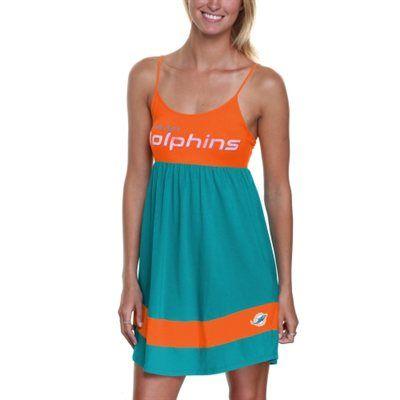 online retailer d4842 12c79 Miami Dolphins Debut Spaghetti Strap Dress - Aqua/Coral ...