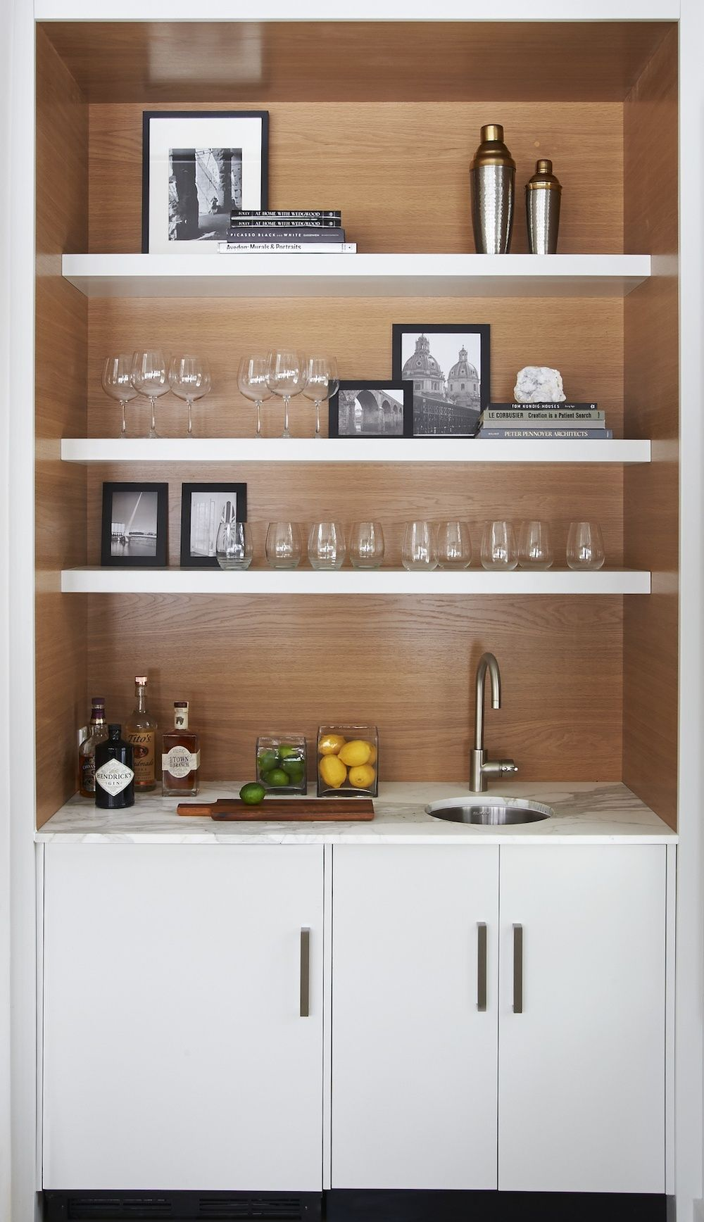 Modern wet bar stained wood barn calcutta marble modern hardware