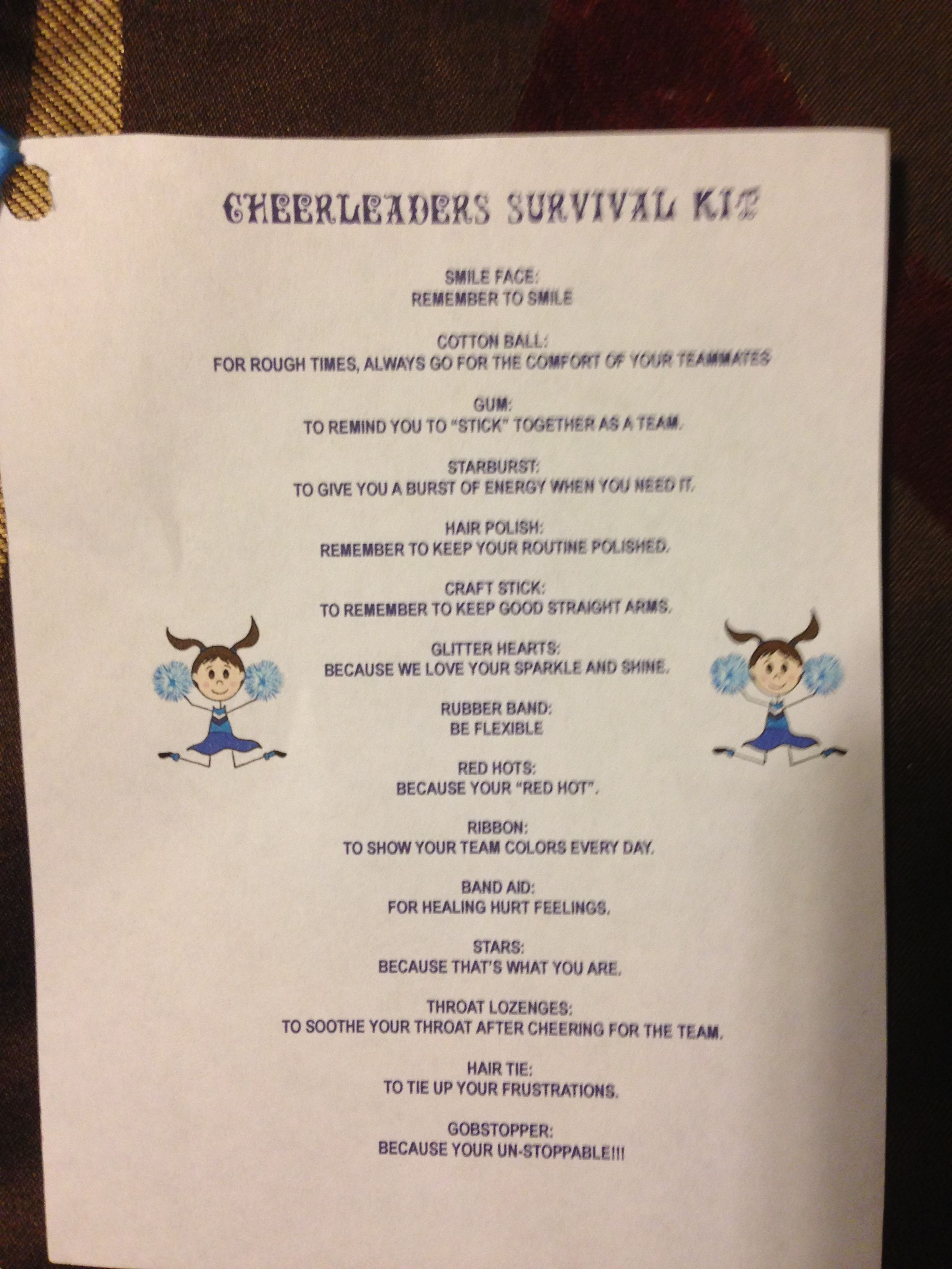 Cheerleader Survival Kit Cheerleading Cheerleading