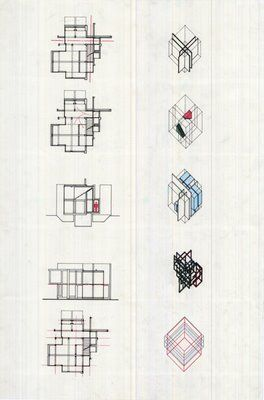 Peter Eisenman's axonometric drawings and grid-analysis