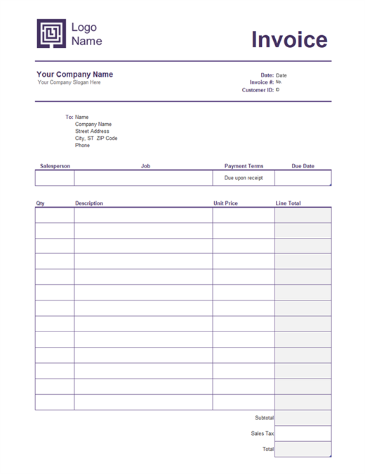 Service Invoice Simple Lines Design Invoice Template Word Invoice Template Resume Template Examples