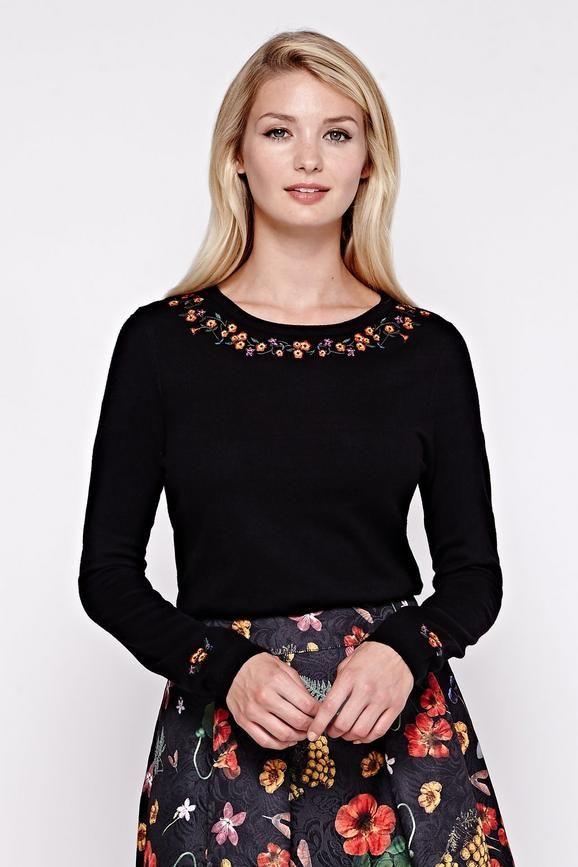 594d2d09461 Floral Embroidered Jumper Black