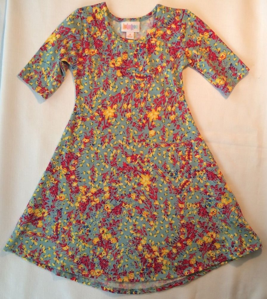 Lularoe Adeline Girls 4 Floral Dress Blue Green With Yellow And