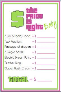 Baby Shower Game Made Easy The Price Is Right So Cute  Baby