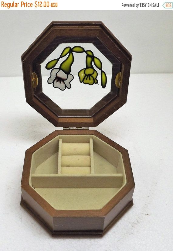 Vintage Wood Octagon Jewelry Box Ring Holder Jewelry Box Glass Lid