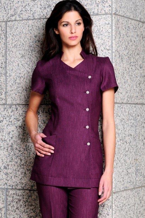 Lili linen look purple 500 752 uniform ideas for Spa uniform canada
