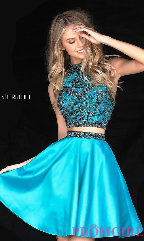 ba52c35ed031 Image of short two-piece beaded Sherri Hill homecoming dress. Style:  SH-50524 Detail Image 3