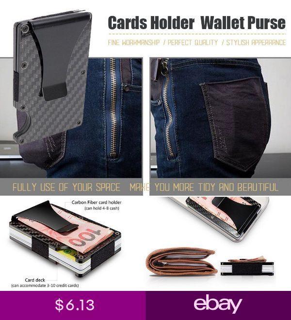 e97051e9658 Men Slim Carbon Fiber Credit Card Holder RFID Blocking Metal Wallet ...