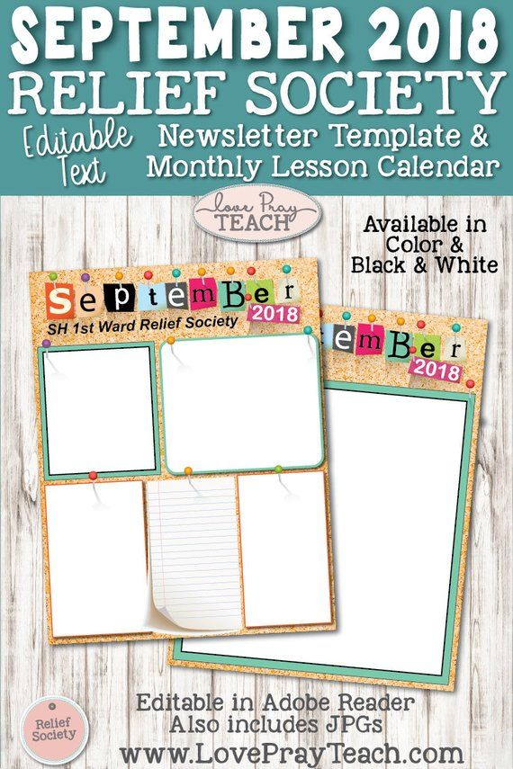 September 2018 Editable Newsletter Template and LDS Relief Society