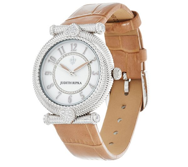 46873bebfb5 Judith Ripka Stainless Steel Leather Parisian Watch
