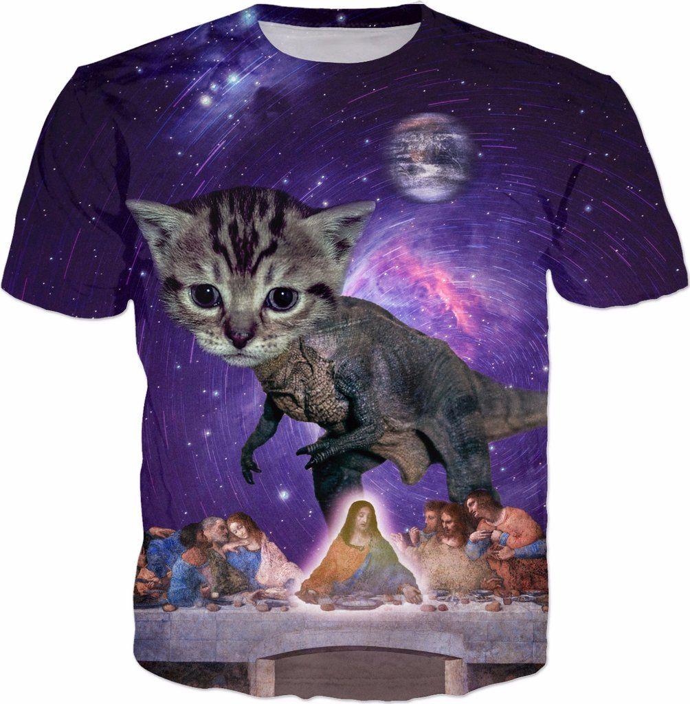 Cat T Rex Defies Space Time Continuum To Join Jesus At The Last Suppert Shirt By Next Level Pet Cat T Gifts For Pet Lovers Time Continuum [ 1024 x 1004 Pixel ]