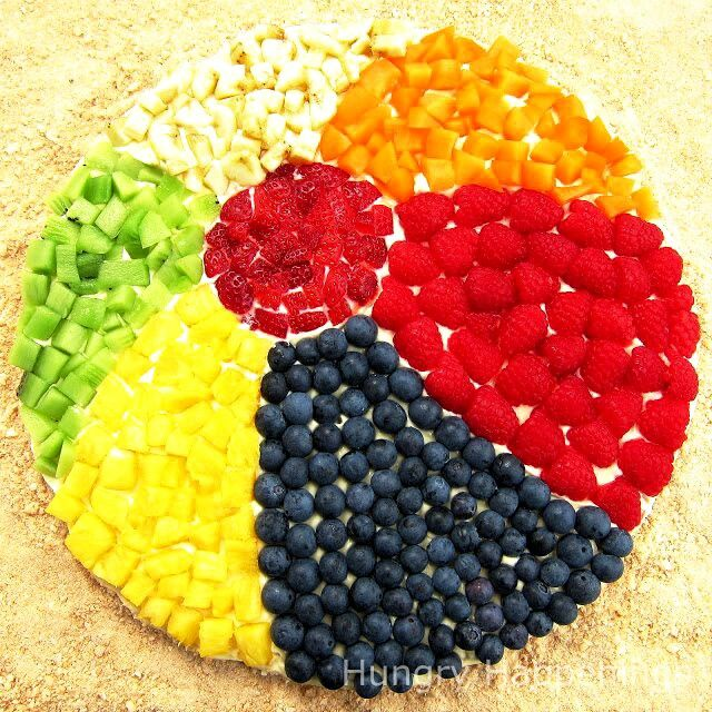 Beachball fruit pizza