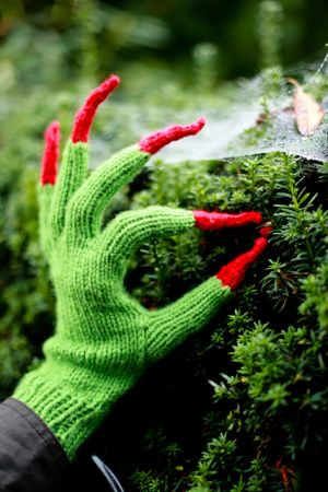 You could add some red tips to your green gloves to make a super quick Halloween Costume!