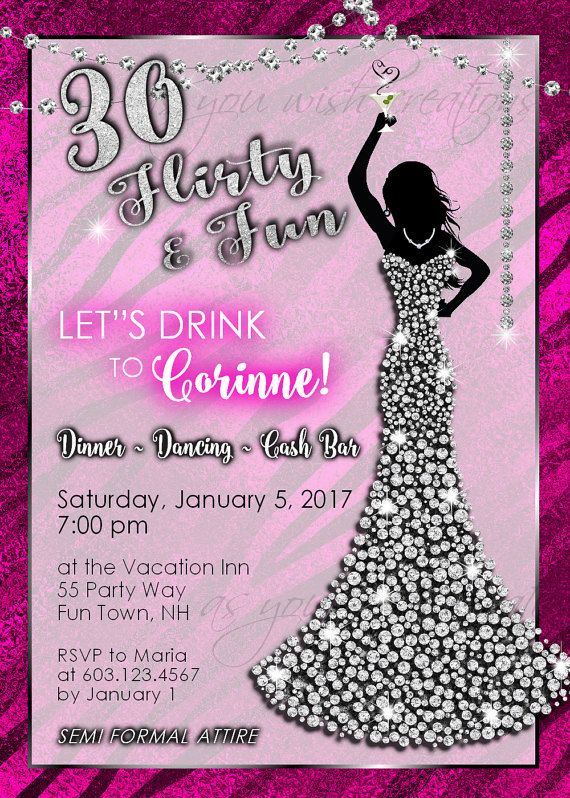 30th Birthday Party Invitations Woman Bling Dress 30th Womans ...