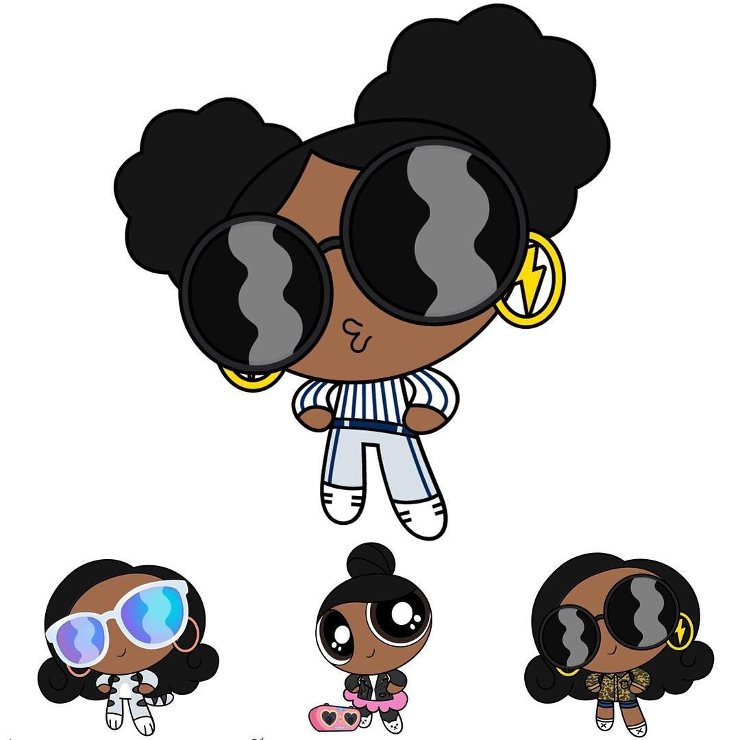 The Many Styles Of Modern Banks Channelling Our Dreams Of Becoming A Powerpuff Girl Trio Black Girl Cartoon Black Girl Art Black Love Art