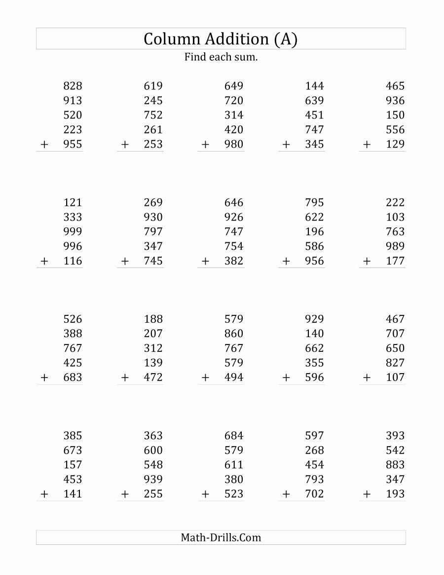 Adding 3 Digit Numbers in 2020 Kindergarten worksheets