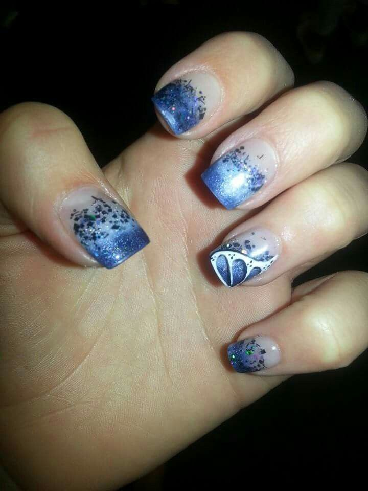 Acrylic nail art. Glitter navy blue faded French tip with white ...
