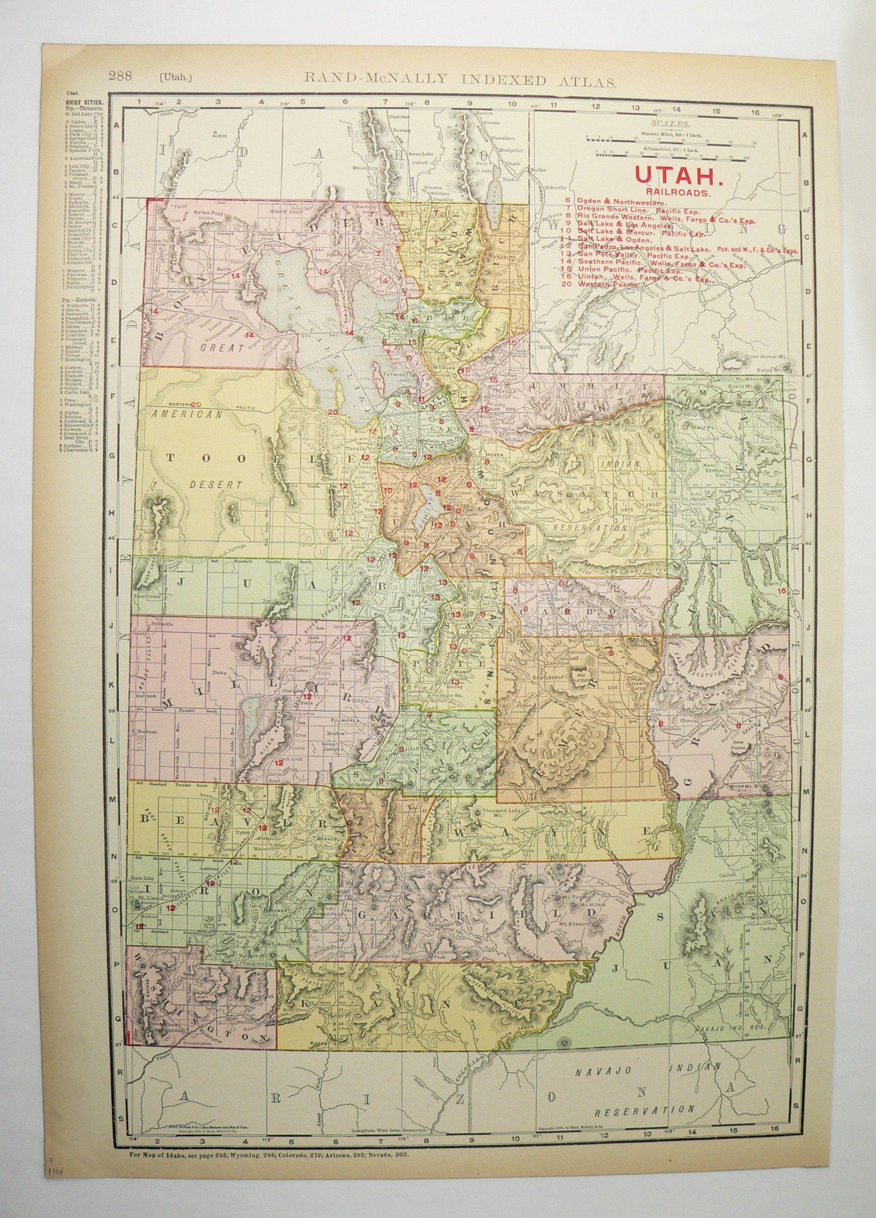 1908 Vintage Utah Map Real Antique Map Of Utah Railroad Map - Utah-location-on-us-map
